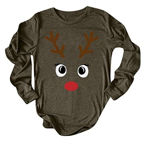 T-Shirts Alwayswin Frauen Christmas Elk Printed T-Shirt Langarm O-Ausschnitt Tops Einfache Bequem Lange Hülsen Bluse Beiläufige Wild Oberteile Einfarbig Elegant Blouse Langarmshirts