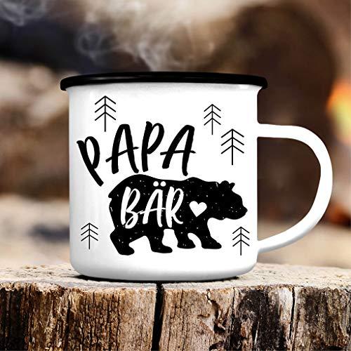 Wandtattoo Loft Emaille Becher Papa Bär Campingbecher - CB400 - schwarzer Tassenrand