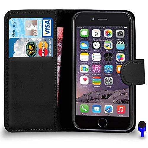 """Apple iPhone 6 (4.7 """"pouces) Rose Vif Wallet flip Premium étui en cuir Housse PAR SHUKAN®, (Rose Vif) Noir"""