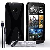 Yousave Accessories HTC One M7 2013 Hülle Schwarz X-Linie Silikon Gel Schutzhülle Mit Mini Griffel Stift Und USB-Kabel