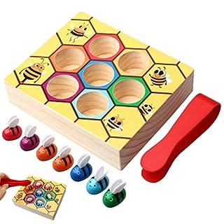 Yuanzi Jouet Ruche Montessori, Jouets Educatifs en Bois de Boîte d'Abeilles Amusants Préscolaire pour Enfants et Bébé
