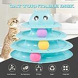 Festnight 3 Capas Cat Track Toy Tower Track Juguete Trilaminar Interactivo Plato Giratorio de plástico Crazy Ball Disk Juguetes para Gatos Gatito