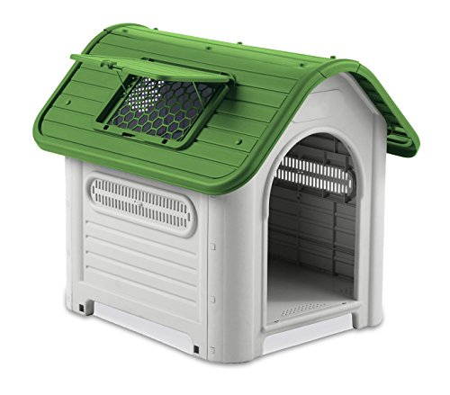 4567 Caseta en forma de casa para perro PROLABZOO con toma de aire 72x75X85CM - Verde