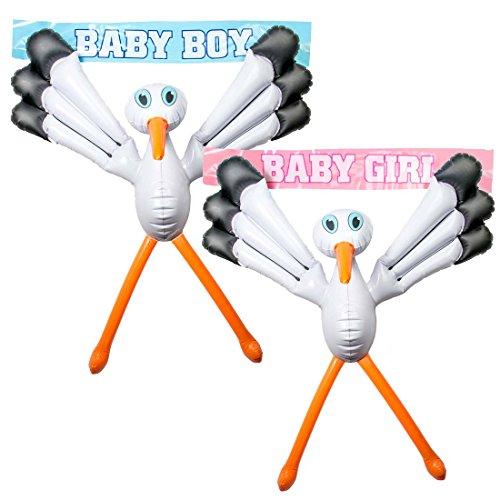 Aufblasbarer Storch Klapperstorch aufblasbar Pullerparty Dekoration Babyparty Partydeko