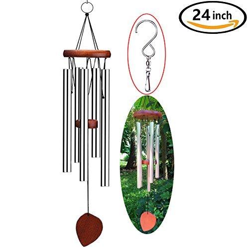 DateDirect 61cm Wind Chimes mit S Haken, 5Hohl Aluminium Metall Röhren gestimmt & #-; der Natur Melodie Musik für Outdoor Terrasse, Garten und Home Décor (Chat Und Date)