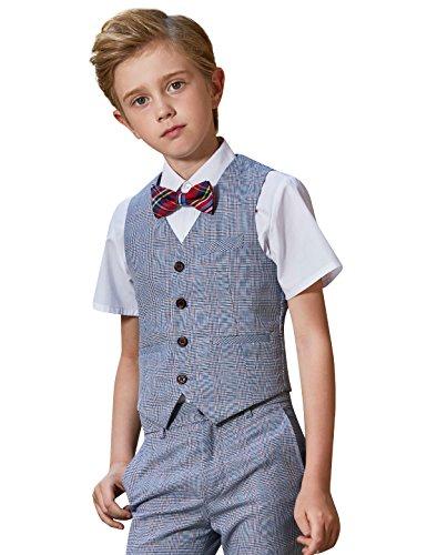Jungen Anzüge 4 Stück Kinder Schlank Formal Plaid Sommer Fit Kleid Verschleiß Weste Shorts Hemd Fliege Sets (Stück 3 Plaid-weste)