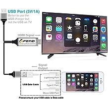 Lightning Digital HDTV AV Cable adaptador, cofend MHL USB a HDMI Plug y Play Lightning a Cable HDMI 1080P Mirroring para iphone ipad samsung huawei p8/P9Type-C Smartphones-negro