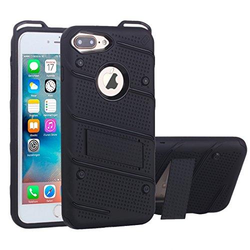 BING Für iPhone 7 Plus Charm Knight Abnehmbare PC + TPU Kombination Schutzhülle mit Halter BING ( Color : Blue ) Black