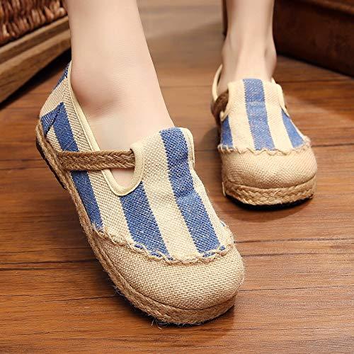 JMMLX Mulle Stoffschuhe,Komfort College Wind Baumwolle'S Pedal Männer Bettwäsche Schuhe, Japanisch Gestreifte Stroh Bettwäsche Schuhe, Blaue Streifen, 43 -
