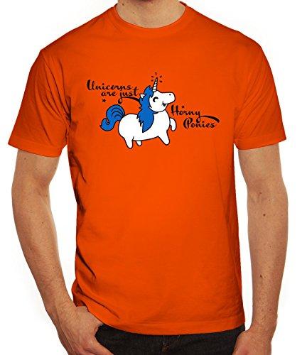 Unicorn Herren T-Shirt mit Horny Pony Motiv von ShirtStreet Orange