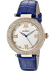 Cristal de reloj oro Color de rosa de las mujeres de la luz indicadora de color azul de la correa de cuero reloj de pulsera