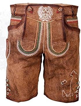 Krüger - Herren Lederhose, mit italienischem Wappen aus Ziegenvelour-Leder in Braun, Italien (Artikelnummer: 94654-7)