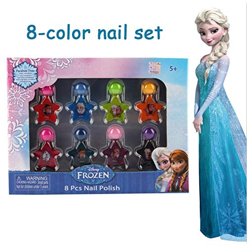 Nail Polish Set, Children's Cosmetics Set Toy 8 Color Nail Art Toy Paste Water Soluble Color Fast Play House Manicure Toy Birthday Present for Girls