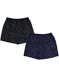 Nuovi Mens Printed Cotton Satin Black And Navy Blue Boxers (Pack Of 2)