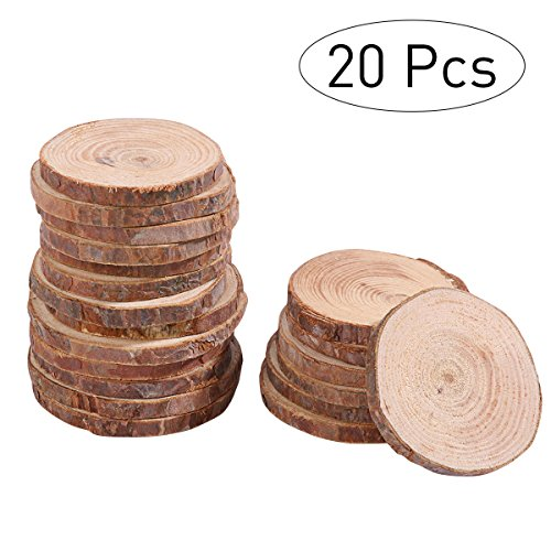 VORCOOL 20Stk 5-6CM Holz-Scheiben Runde Naturholzscheiben DIY Deko-Holz