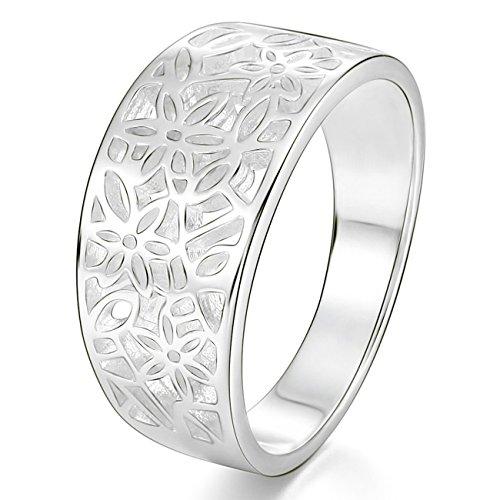 g Silber Band Ring Blume Muster Blatt Laub Filigran Hochzeit Größe 57 (18.1) Damen ()