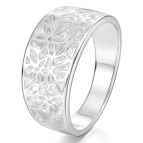 MunkiMix 925 Sterling Silber Band Ring Blume Muster Blatt Laub Filigran Hochzeit Größe 47 (15.0) Damen