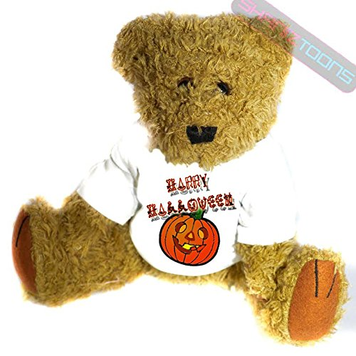 Happy Halloween Geschenk Teddy Bär-Spooky Kürbis Geschenk bedruckt Teddy T Shirt-23cm hoch stehend