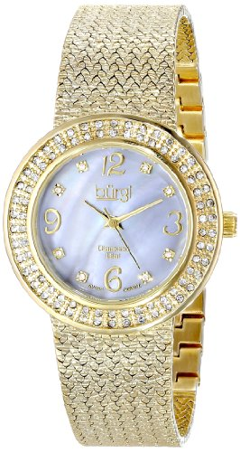 Burgi Women's Quartz Watch with Mother of Pearl Dial Analogue Display and Gold Metal Bracelet BUR097YG