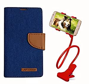 Aart Fancy Wallet Dairy Jeans Flip Case Cover for MeizumM2 (Blue) + 360 Rotating Bed Moblie Phone Holder Universal Car Holder Stand Lazy Bed Desktop by Aart store.