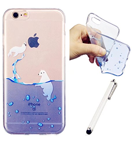 Iphonese/5/5S Shell Wyrhs cover protettiva in silicone morbido silicone box ultra-sottile trasparente Shell antiurto scratch–Girl + metallo penna di tocco Seal and polar bears
