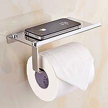 L&HM Porte-Papier Toilette Mural avec Etagère de Rangement en 304 Acier Inoxydable, Porte-Rouleau de Papier WC avec Support de Téléphone pour Salle de Bain