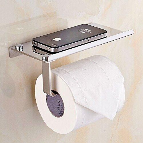 L&HM Toilettenpapierhalter Rollenhalter WC-Papierhalter mit Ablage, zur Wandmontage mit Handyhalter Edelstahl 304