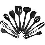 ENKO Ustensiles de cuisine en silicone 10 pièces résistant à la chaleur Ensemble de cuisine, pinces, fouet, brosse, spatule, cuillère à fente cuillère à nouilles riz paddle spatule fendue cuillère à soupe. (noir)