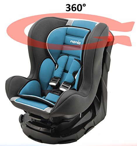 Seggiolino auto gruppo 0+/1 (0-18kg) girevole a 360° e reclinabile - made in france - reclinabile 4 posizioni - protezioni laterali