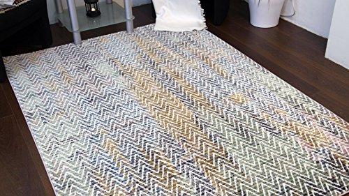 A2z Schnellspanner Teppich Modern Top Qualität (blau, elfenbeinfarben, Multi 150x 225cm–4'22,9cm X 7' 10,2cm FT) Deco Zig Zag Collection Bereich Teppich, perfekt für Wohnzimmer–Esszimmer–Schlafzimmer Teppiche und Teppiche (Mexikanischer Teppich)