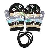 EROSPA Baby Winter-Handschuhe Fäustlinge Fausthandschuh Fäustel Mädchen Jungen Schneeflocke 4 Farben (Schwarz)