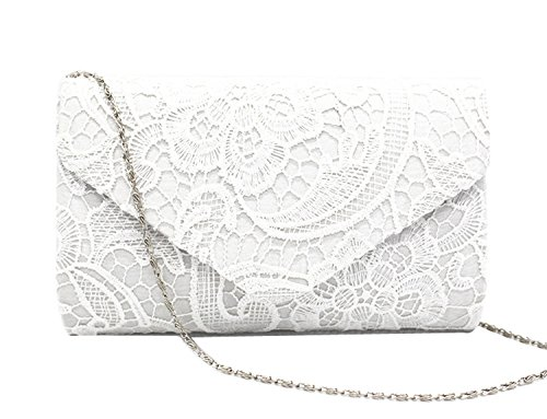 PB-SOAR Elegant Damentasche Clutch Abendtasche Brauttasche Umhängetasche Handtasche mit Spitze, 8 Farben auswählbar (Weinrot) Weiß