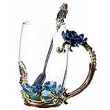 Ziemlich Geschenk Blume Kaffeebecher Teetasse Mit Löffel 350ml 12 Unzen Groß Blau
