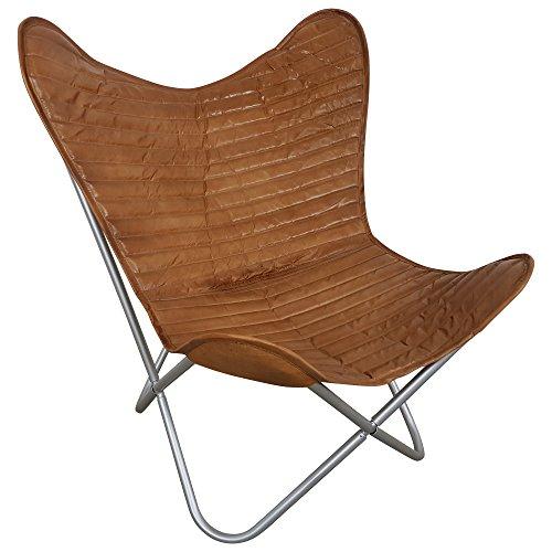Indoortrend.com Vintage Sessel handgefertigter Butterfly Chair Loungesessel Leder Braun