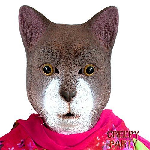CreepyParty Deluxe Neuheit-Halloween-Kostüm-Party-Latex-Tierkopf-Schablone Masken ABENTEUER Katze