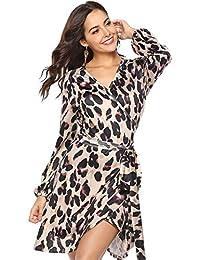 e000e86c28f9 SODIAL Moda Donna Sexy Scollo A V Stampa Leopardo Manicotto A Lanterna Mini  Abito Da Donna Maniche Lunghe A Maniche Corte Abito Corto…