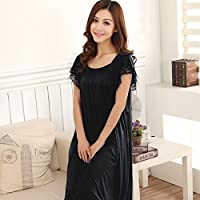 El Verano–nachthemd Pijama, kurzärmeliges Verano seda seda Tamaño fino, Bella Mujer, negro