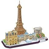 CubicFun 3D Puzzle Paris Eiffelturm CityLine-Bausatz Architektur-Modellbausatz zum Bauen für Spaß, 114 Teile