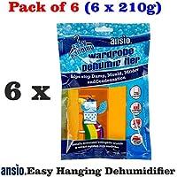 ANSIO 94611 Interior Hanging Wardrobe Dehumidifier, 210 g, Pack of 6