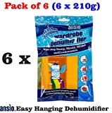ANSIO 94611 Interior Hanging Wardrobe Dehumidifier, 210 g, Pack of 6