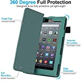 TECHGEAR Case Designed For All New Amazon Fire 7 (9th Generation / 2019 Release) PU Leather Slim Folio Stand Case Cover with Hand Strap [Sage] with Auto Wake/Sleep