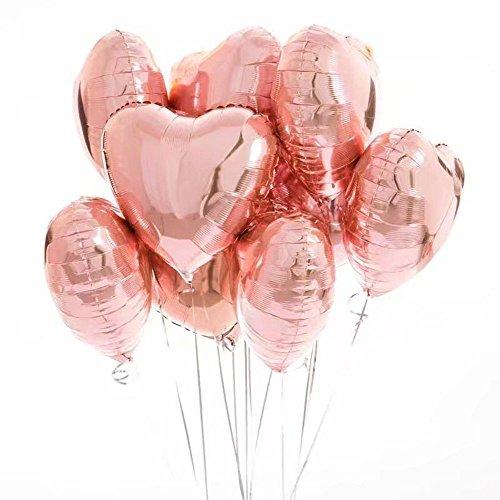 Anokay 10 pcs Globos Oro Rosa Metálicos Corazones Helio de Decoración Rose Gold para Cumpleaños Boda Fiesta Infantiles Bautizos de Niños y Niñas Regalos Adornos Decorativos de Celebración Comunión Graduación