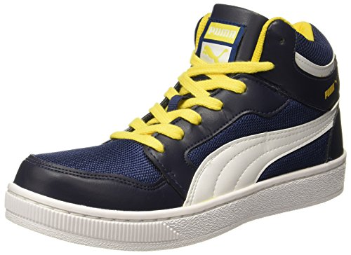 Puma Men's Rebound Mid Lite DP Peacoat, Dandelion and White Sneakers - 7 UK/India (40.5 EU) (35850106)