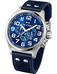 TW Steel Unisex-Armbanduhr Pilot Chronograph leder blau TW403