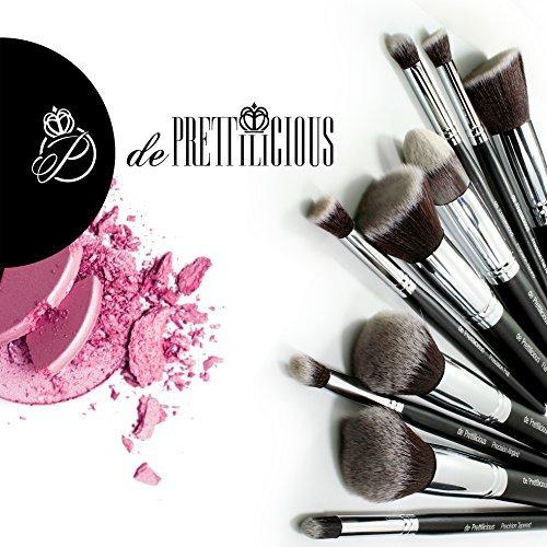 Lot de 10 pinceaux à maquillage Kabuki avec pot à pinceaux et pochette souple 12 places e-book de beauté offert (français non garanti)