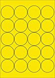 100 Etiketten Farbetiketten selbstklebend rund 50 mm GELB permanent klebend