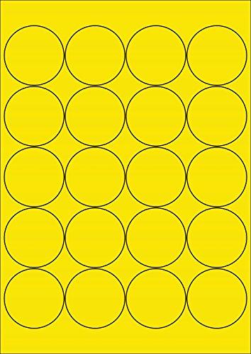 200 Etiketten Farbetiketten selbstklebend rund 50 mm GELB permanent klebend auf Bogen A4 (10 Bögen x 20 Etik.)
