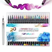SAYEEC Watercolour Flexible Brush Pens, Set of 20 Premium Watercolour Paint Brush Art Pens with 1 Refillable Blending Brush Soft Flexible Tip for Adult Coloring Books/Lettering Beginner