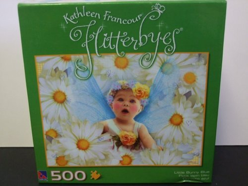 Kathleen Francour Flitterbyes 500 Piece Puzzle Little Bunny Blue by Flitterbyes