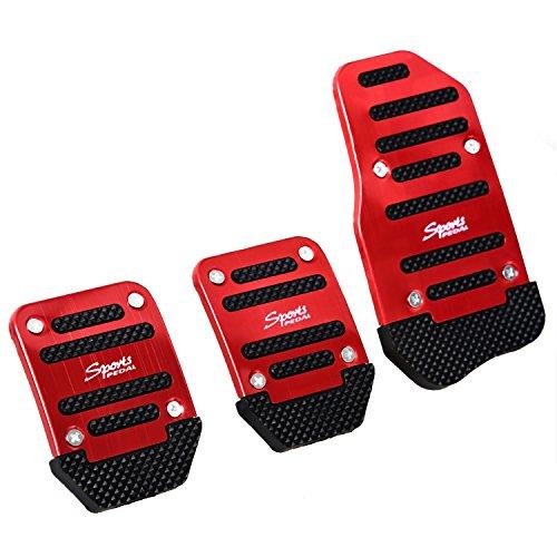 SODIAL (R) 3 Stueck Schwarz Rot Metall Kunststoff rutschfeste Pedal Bezug-Set fuer Auto